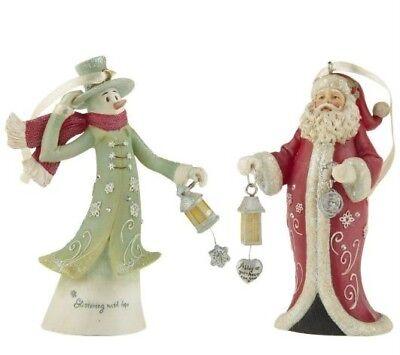 Gina Freehill Santa & Snowman Bell Ornaments Set of 2