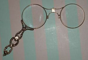 ANTIQUE-14K-GOLD-LORGNETTE-Fancy-Yellow-Gold-Glasses