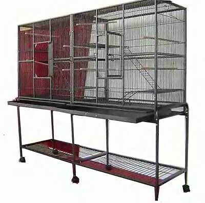Large Double Bird Cage Cockatiel Ferret Sugarglider 0437 Black Vein-685