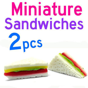 Dollhouse-Miniature-Kitchen-Food-2-x-Vegetable-Cheese-Ham-Sandwiches