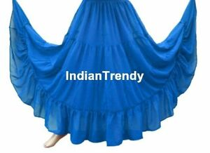 DBlue-4-Tier-Skirt-BellyDance-Costume-Gypsy-Tribal-Boho