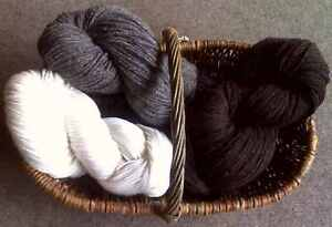 200g : Natural Aran Yarn white grey brown : 100% Wool