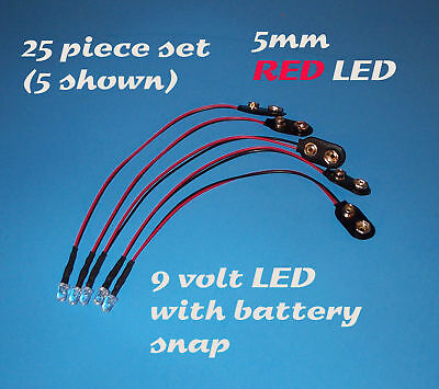25 Pre Wired 5mm Leds 9 Volt Red Led On Snap 9v Clip