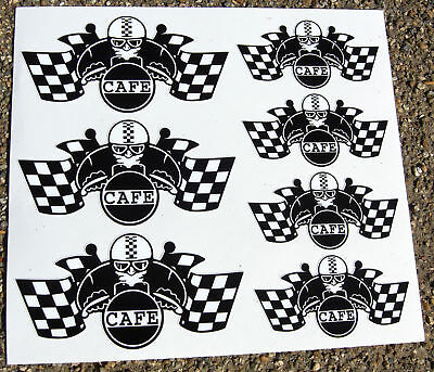 CAFE RACER Chequered Flag Helmet set stickers decals