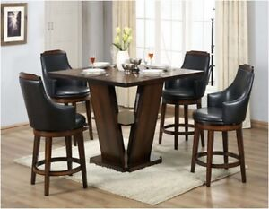 Stylish counter height dining table amp swivel chairs for Dining room table with swivel chairs