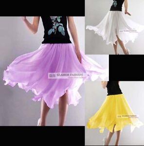 New-Cute-Chiffon-Asym-Hem-Skirt-XS-3XL-GF0636