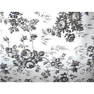 TWO-ROLLS-BLACK-WHITE-TOILE-FLORAL-ROSE-CONTACT-PAPER-SHELF-LINER-WALL-CRAFTS