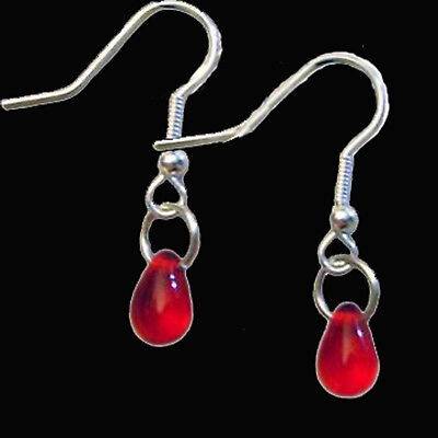 True Glass Vampire Blood Drops Earrings Gothic Victorian Cosplay Costume Jewelry