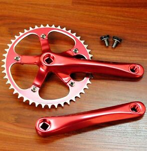 SINGLE-SPEED-FIXIE-TRACK-BIKE-CRANKSET-CRANKS-170-RED