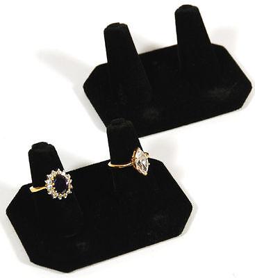 2 Black Velvet 2 Finger Ring Showcase Displays