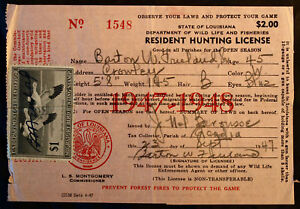 Rw12 duck stamp attached la hunting license bl9720 ebay for Fishing license in louisiana