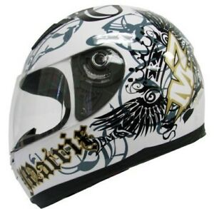 White Royal Full Face Motorcycle Helmet Street Bike ~S