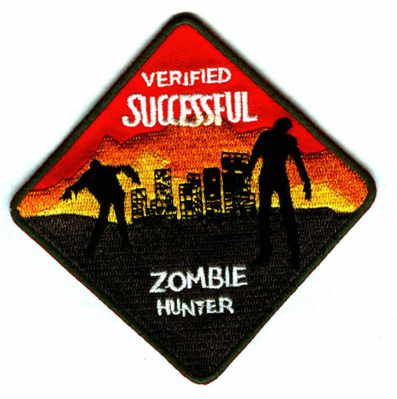 Verified Successful ZOMBIE HUNTER Iron-On Patch/Crest/Applique FREE SHIPPING !