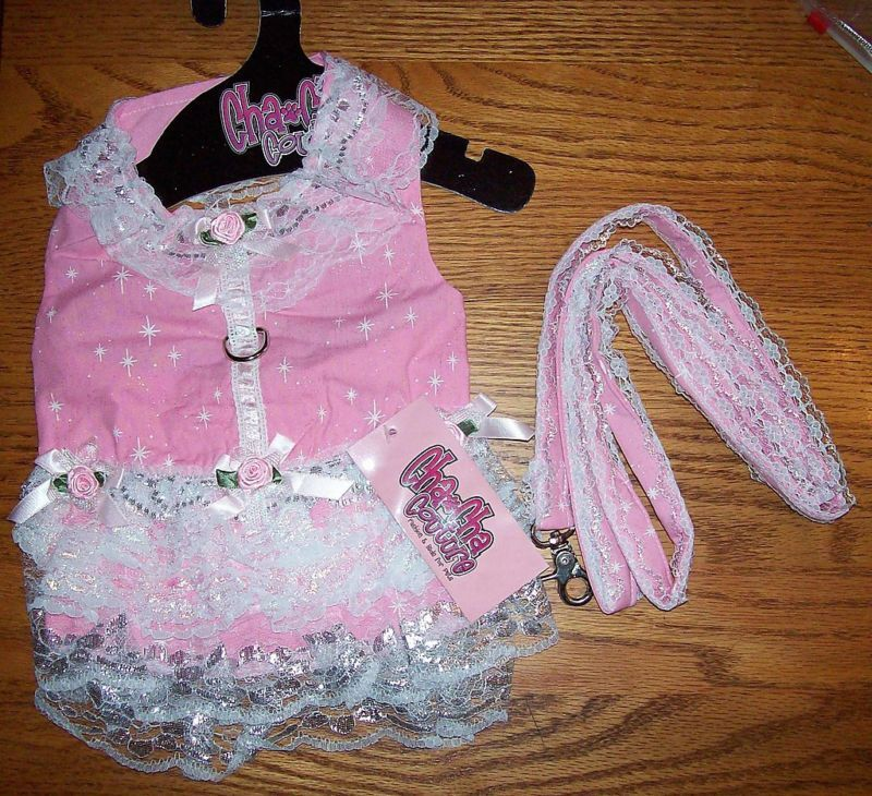 Cha Cha Couture Starlet Dreams Harness Dress Leash Pink Large Dog Clothes