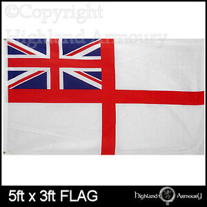 5' x 3' FLAG White Naval Ensign British Royal Navy New