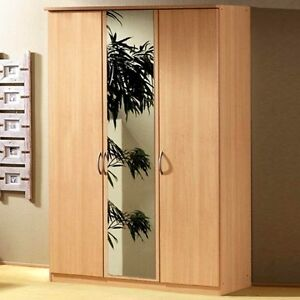 LIMA / BLITZ 3 DOOR BEECH FINISH MIRROR WARDROBE by RAUCH