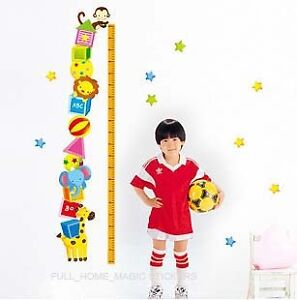 Animal Height Chart Measure Kids/Children Wall Stickers