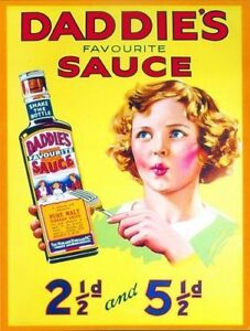 New-DADDIES-SAUCE-enamel-style-tin-metal-vintage-advertising-sign-large-30x40cm