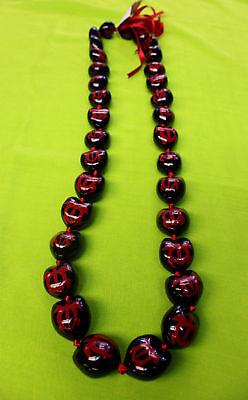 NEW Hawaii Wedding / Graduation Kukui Nut Lei Necklace ~ BLACK W/ RED TURTLES