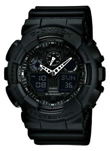 Casio GA-100-1A1ER G-Shock Black Reverse LCD 200M 5 Alarm UK Seller