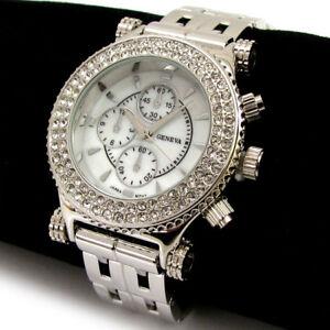 silver bracelet 3d geneva bezel oversized s