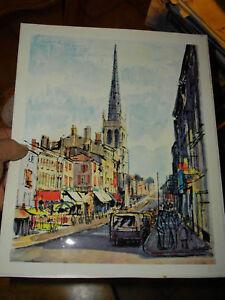 superbe gravure rue nationale villefranche sur saone 69 ebay. Black Bedroom Furniture Sets. Home Design Ideas