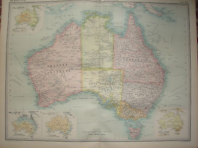 1920 LARGE MAP ~ AUSTRALIA ~ 23 INCHES x 18 INCHES