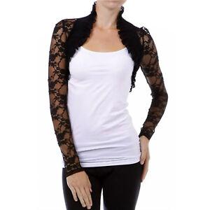Designer-Bolero-Long-Sleeve-Floral-Ruffle-Lace-Shrug-Crop-Wrap-Jacket-Sz-S-M-L