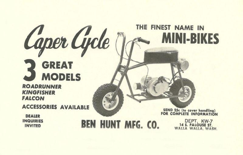 Vintage 1963 Ben Hunt Caper Cycle Mini-bike Ad