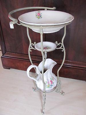 Wasch Set Waschset Porzellan Schüssel Krug Schale Blumenmuster mit Ständer