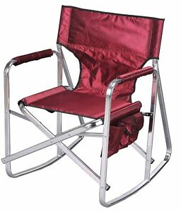Details about Aluminum Folding Rocking Director Chair 1205 Burgundy