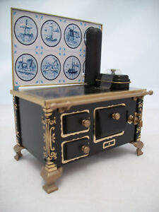 Delft Tile Kitchen Stove dollhouse miniature JS118918  1/12 Scale metal German