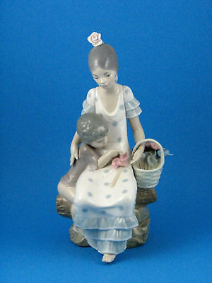 Girl & Child Playing with Pinwheels Figurine by Lladro