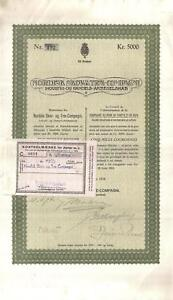 Denmark-1918-Nordisk-Skov-North-Forestry-company-5000-cr-coupons-Uncancelled