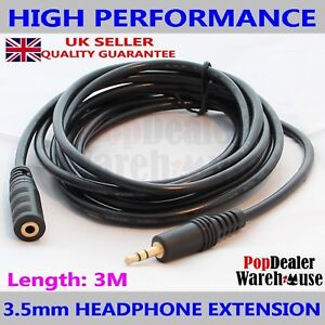 Gold 3.5mm A to B Headphone Extension Audio Cable (3m)