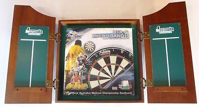 Dart Board Set Solid Wood Walnut Cabinet & Micro Band 2 Blade Dart Board + Darts