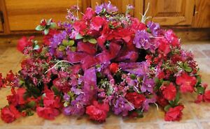 Silk-Memorial-Flowers-Violet-amp-Fuschia-Azaleas-Ground-Plaque-Mothers-Day-Grave