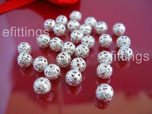 Wholesale 50 Pcs Silver Plated Hollow Flower Ball Spacer Beads 6mm