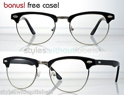 Vintage Inspired 80s Clubmaster Clear Lens Black & Silver Hipster Nerd Glasses