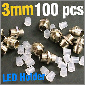 100-pcs-Chrome-Metal-LED-3mm-Plated-Bezels-Holder-Case