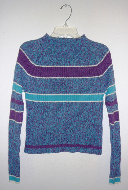 KOBE GIRL SWEATER~Aqua & Purple~Long Sl~Girls Size 14~FREE SHIP
