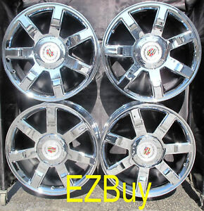 22 inch escalade factory new chrome wheels rims 5309 with factory centercaps ebay. Black Bedroom Furniture Sets. Home Design Ideas