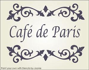 Stencil Cafe De Paris Shabby Cottage French Chic Fancy