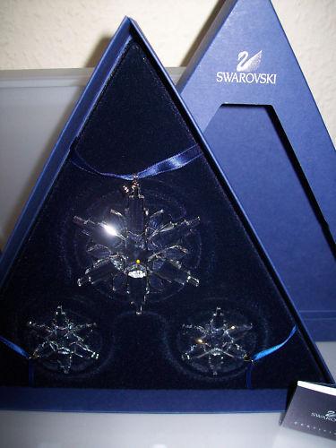 SWAROVSKI WEIHNACHTSSTERN ORNAMENT 2006 3er SET NEU