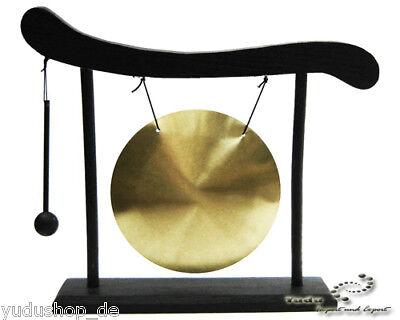 Tisch-Gong  incl.Schlegel  Messing und Holzständer
