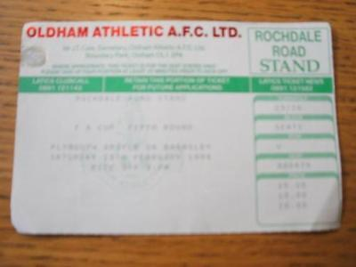 19/02/1994 Ticket: Oldham Athletic v Plymouth Argyle Or