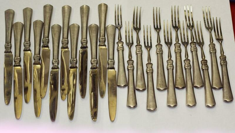 ANTIQUE 24pc 800 SILVER GERMANY FLATWARE SET