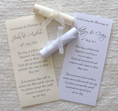 50 Personalised Wedding Favour Scrolls with Ribbon