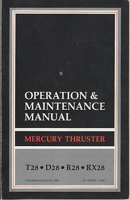 1989 Mercury Outboard Thruster 28 Operators Manual