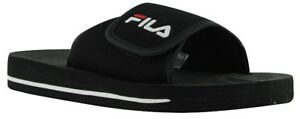 Boys-Mens-Classic-Fila-Velcro-Slip-On-Slide-Sandals-Black